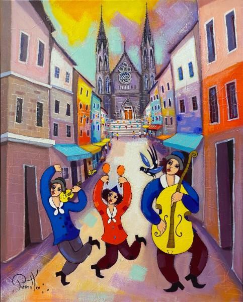 «Jour de fete dans la rue des Gras»